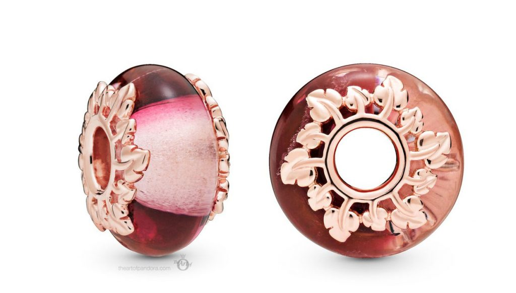 Pandora Rose Pink Murano Glass and Leaves Charm (788244)