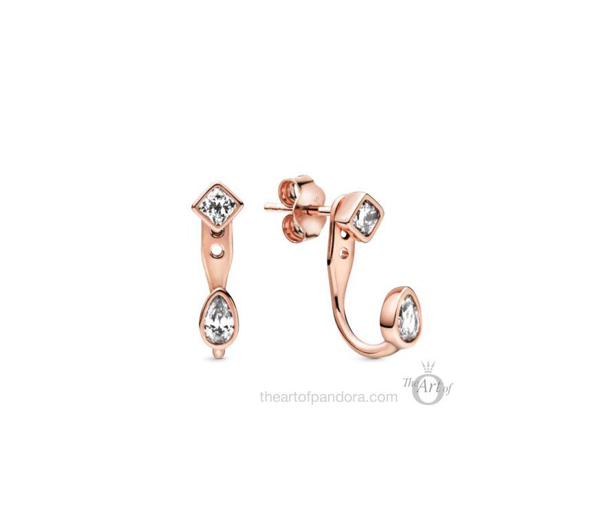 288509C01 Pandora Rose Geometric Shapes Stud Earrings