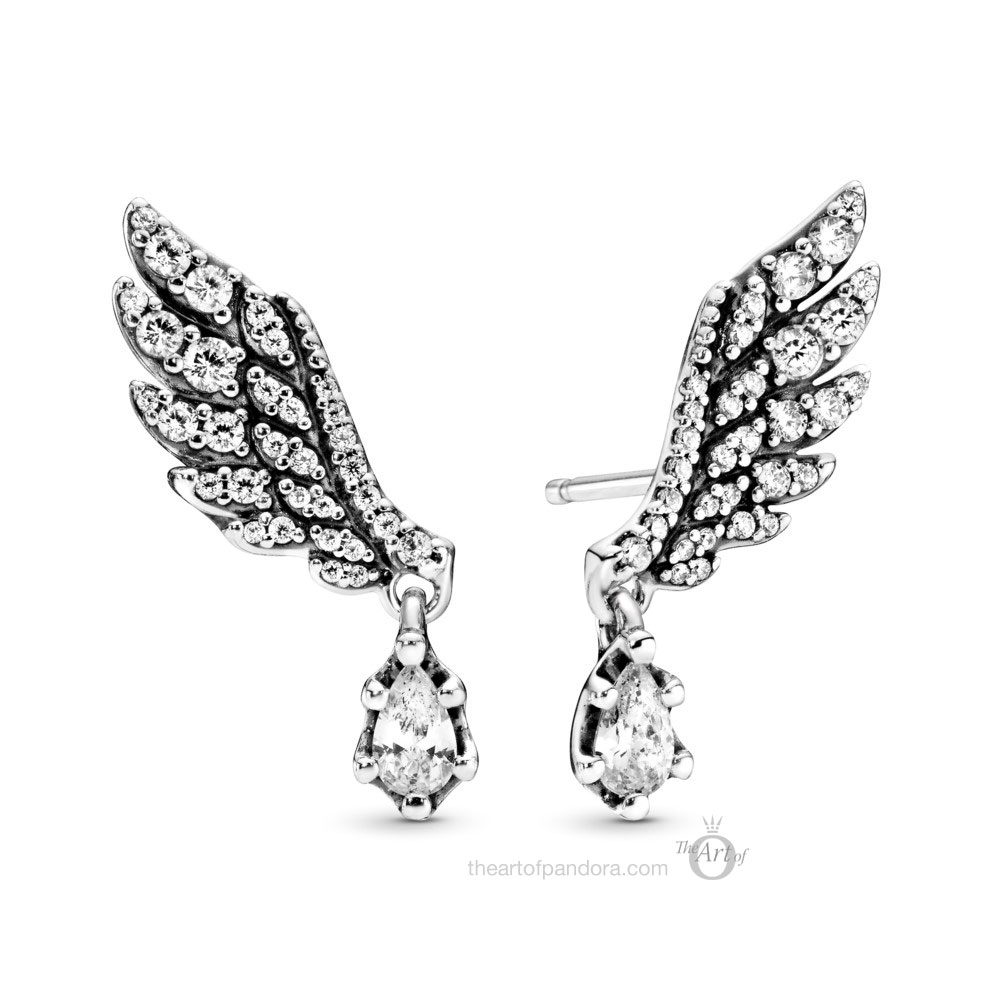 Pandora Dangling Angel Wing Earrings (298493C01)