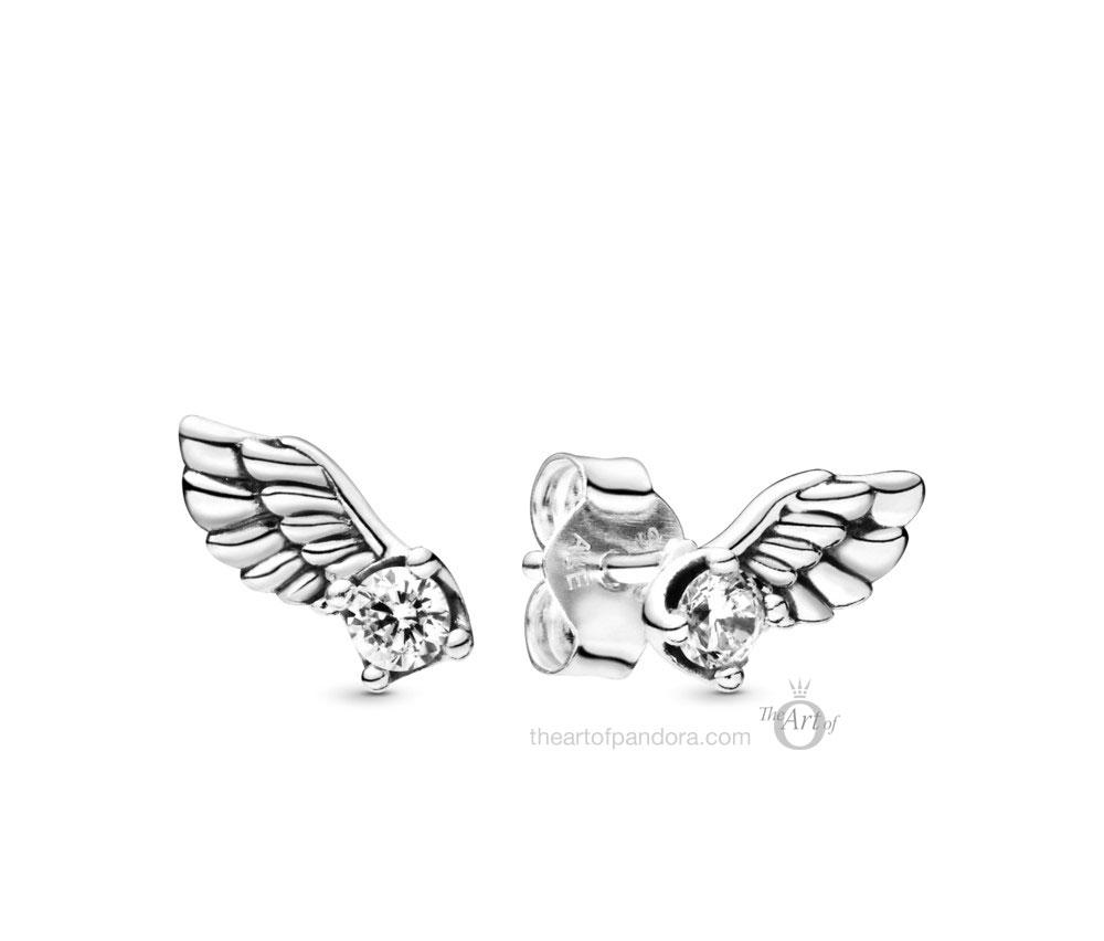 Pandora Sparkling Angel Wing Stud Earrings (298501C01)