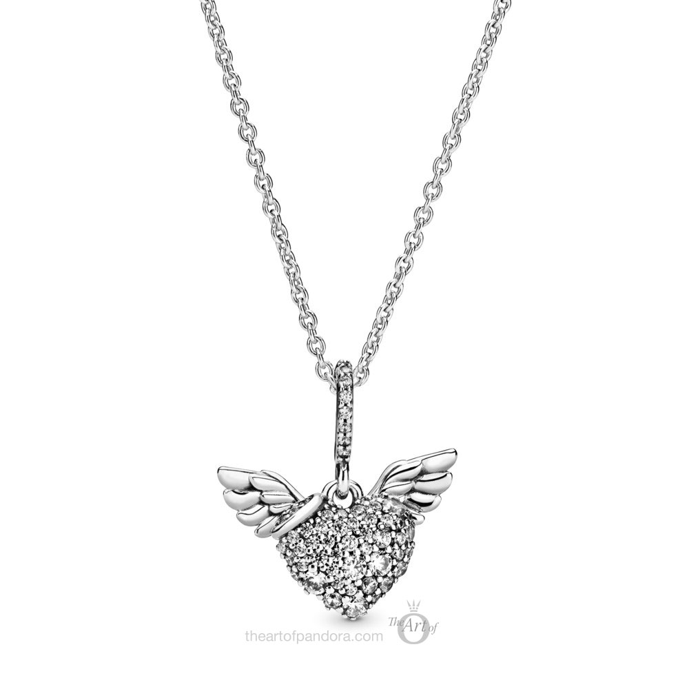 Pandora Pave Heart and Angel Wings Necklace 398505C01