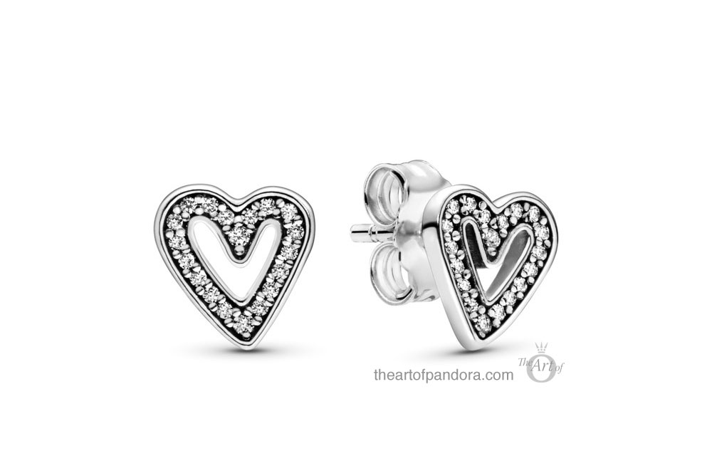 Pandora Sparkling Freehand Heart Stud Earrings (298685C01) Pandora Valentines Day Chinese New Year 2020 Collection