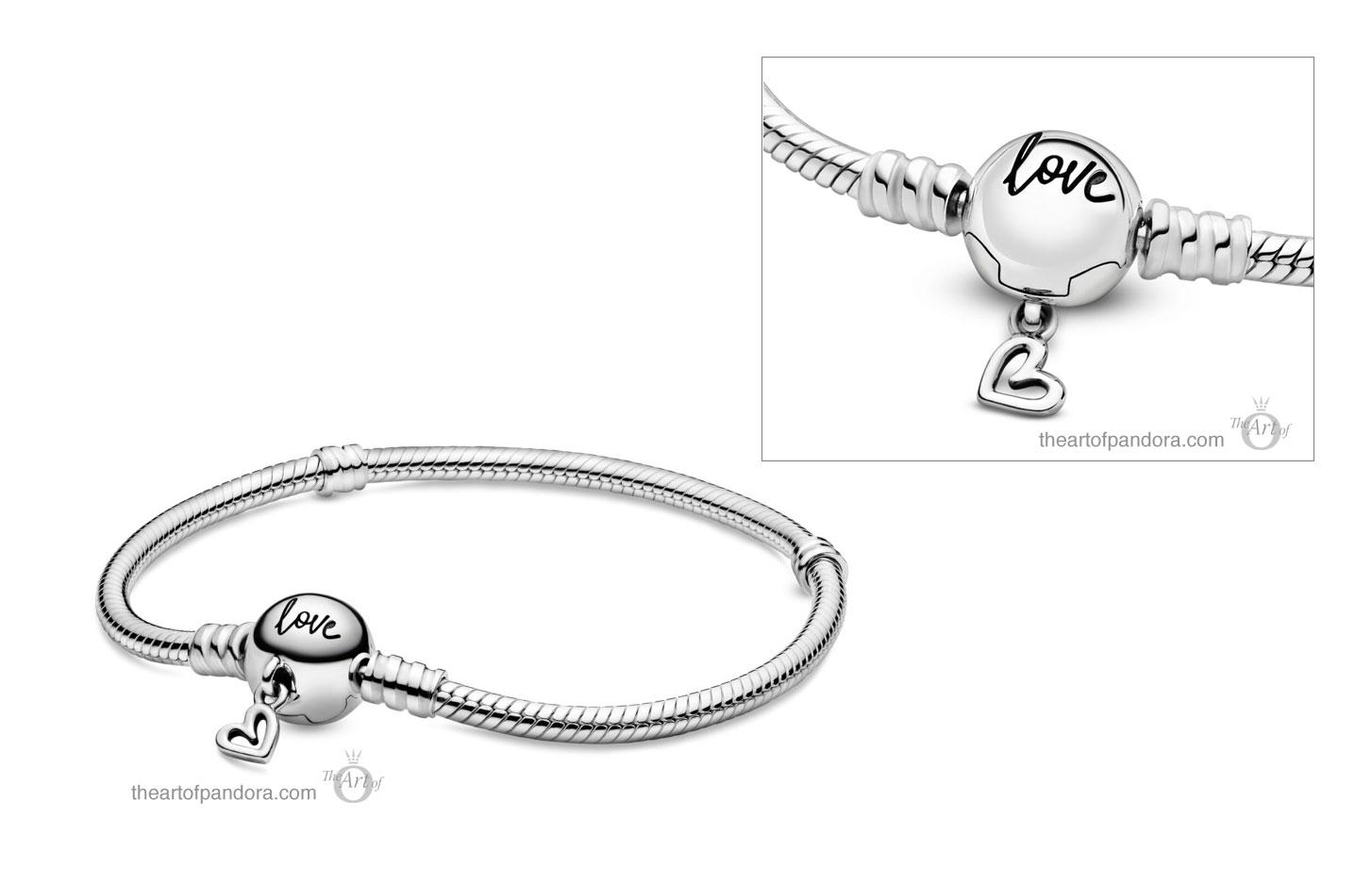 pandora moments heart clasp snake chain bracelet rose gold