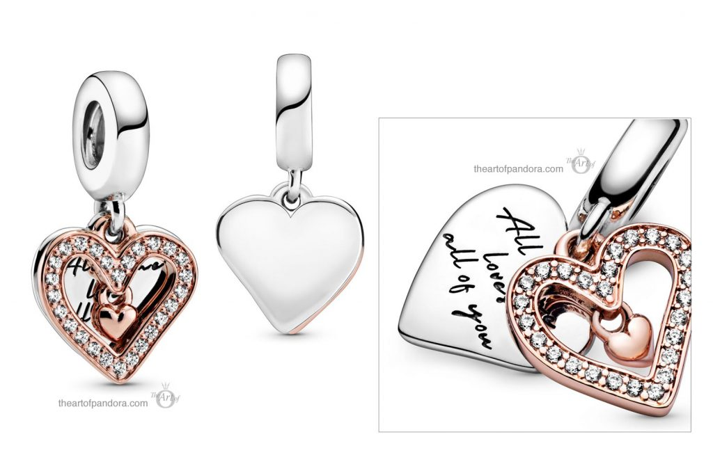 Pandora Sparkling Freehand Heart Dangle Charm (788693C01) Pandora Valentines Day Chinese New Year 2020 Collection