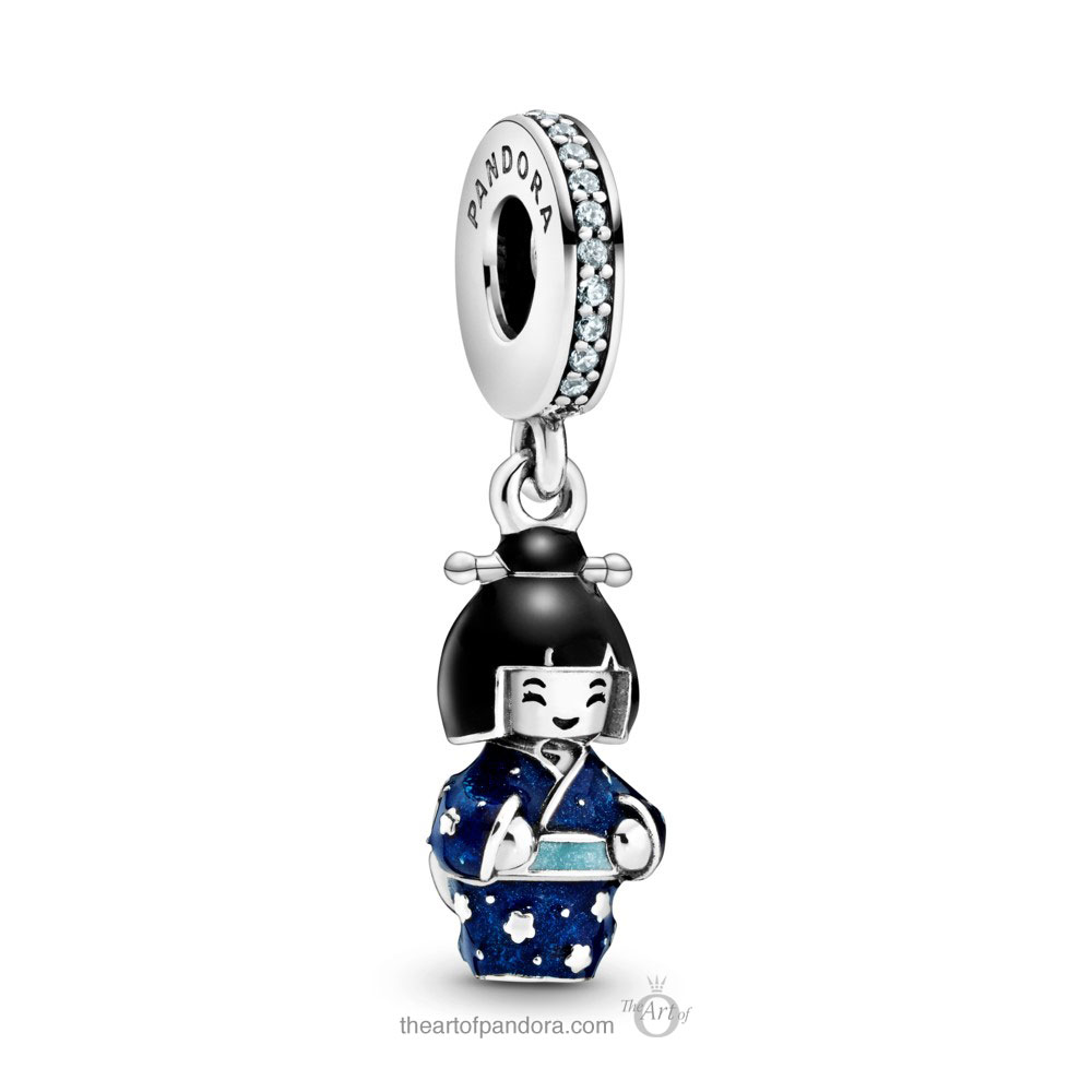 Pandora Japanese Doll in Blue Kimono Dangle Charm (798595C01) Pandora Valentines Day Chinese New Year 2020 Collection
