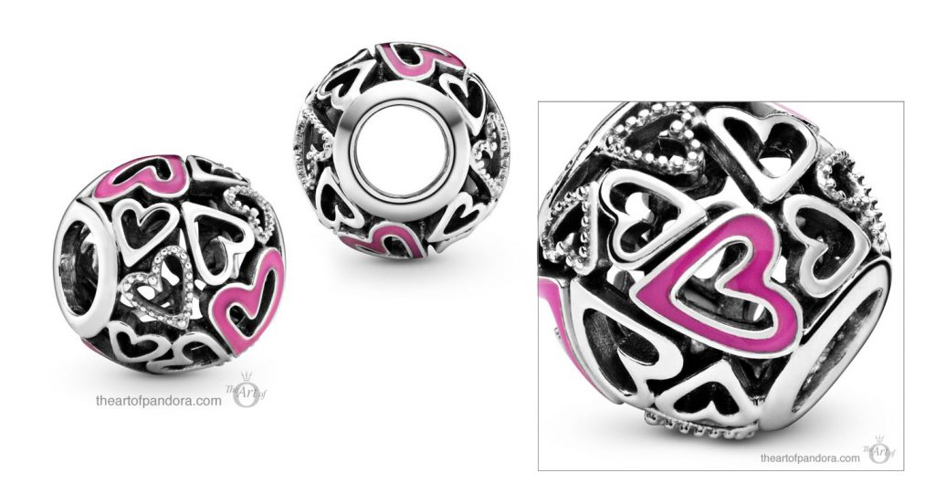Pandora Pink Openwork Freehand Heart Charm (798677C01) Pandora Valentines Day Chinese New Year 2020 Collection