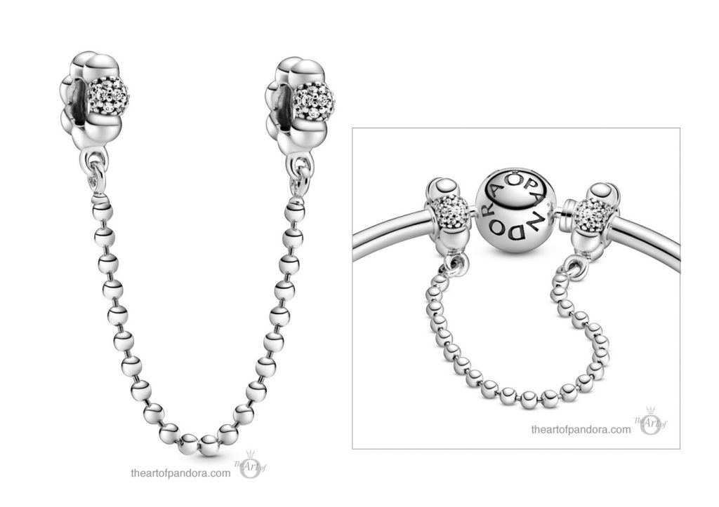 Pandora Beads & Pavé Safety Chain (798680C01) Pandora Valentines Day Chinese New Year 2020 Collection