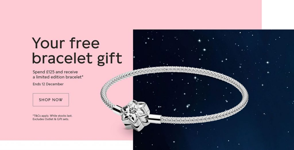 free Pandora Bright Snowflake Mesh Bracelet Christmas winter 2019 Black Friday promo gwp gift
