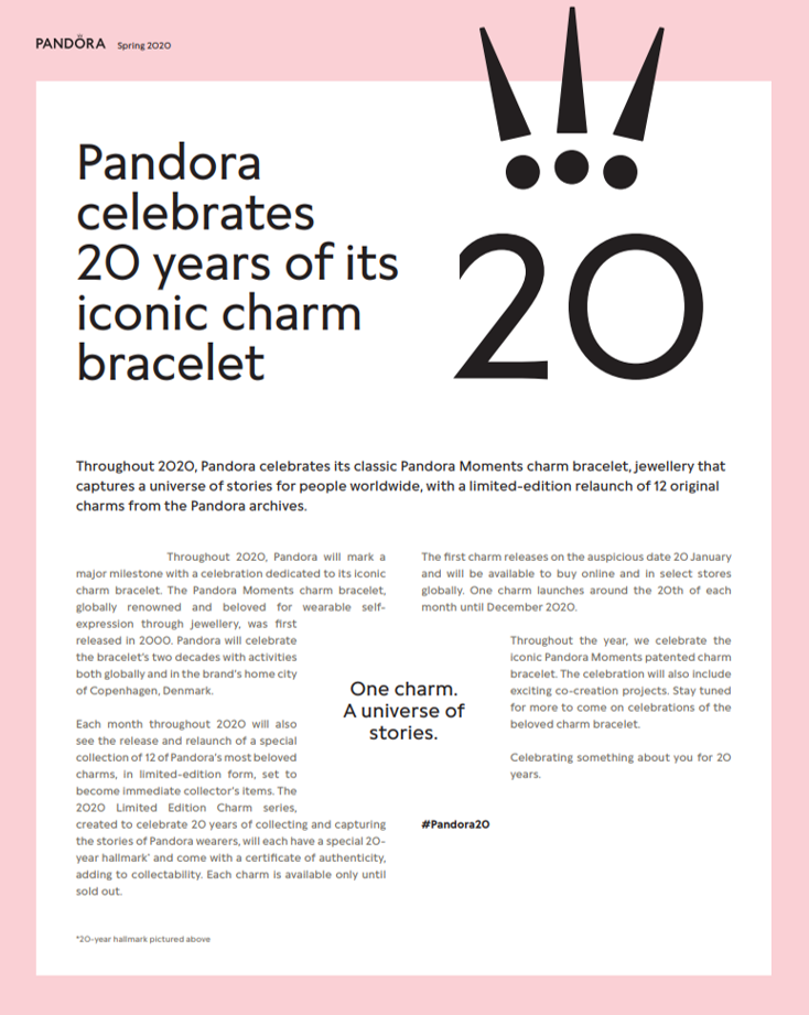 pandora charms 20 ans