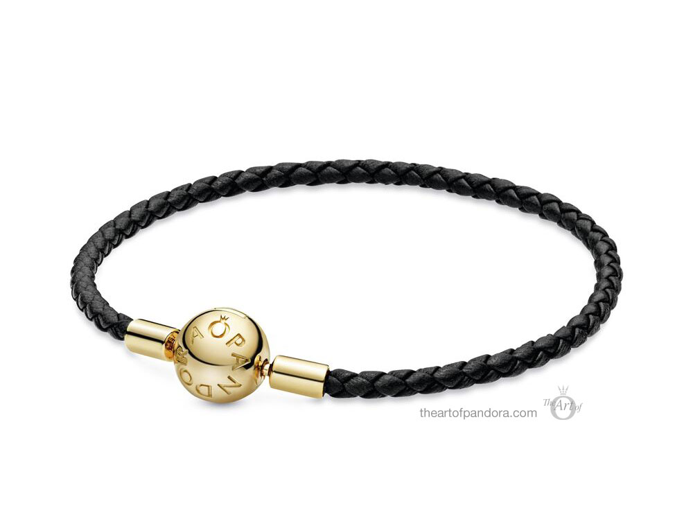 China Exclusive  Pandora Shine Black Single Leather Bracelet  (568777C02-S)
