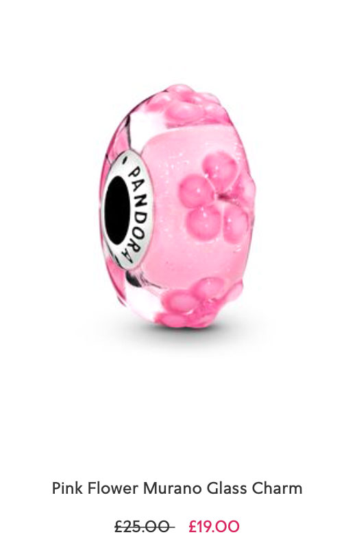 Pink Flower Murano Glass Charm pandora sale