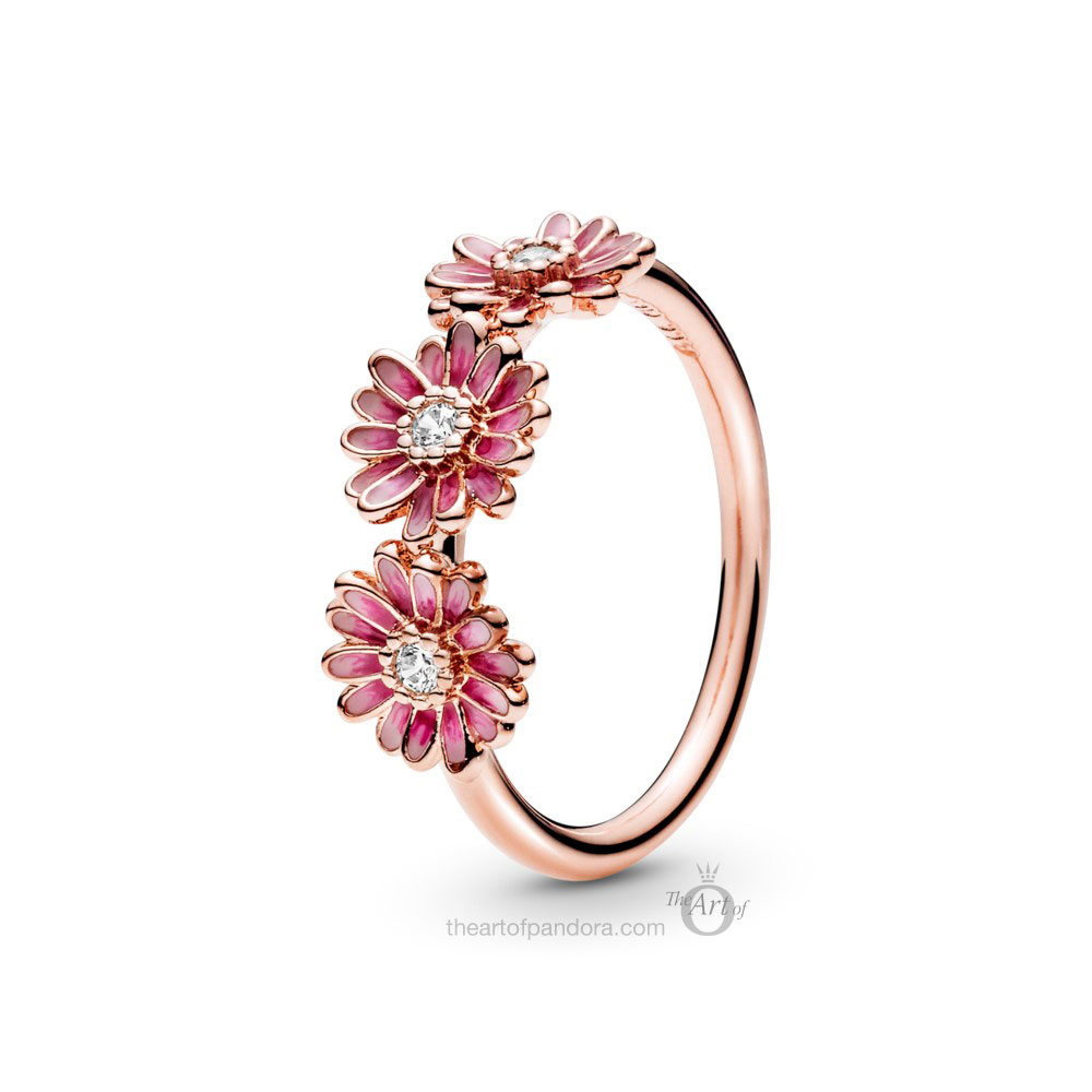 188792C01 Pandora Rose Pink Daisy Flower Trio Ring