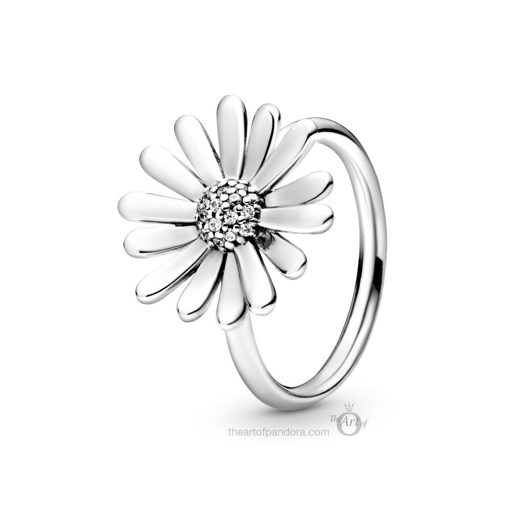 198817C01 Pandora Pave Daisy Flower Statement Ring