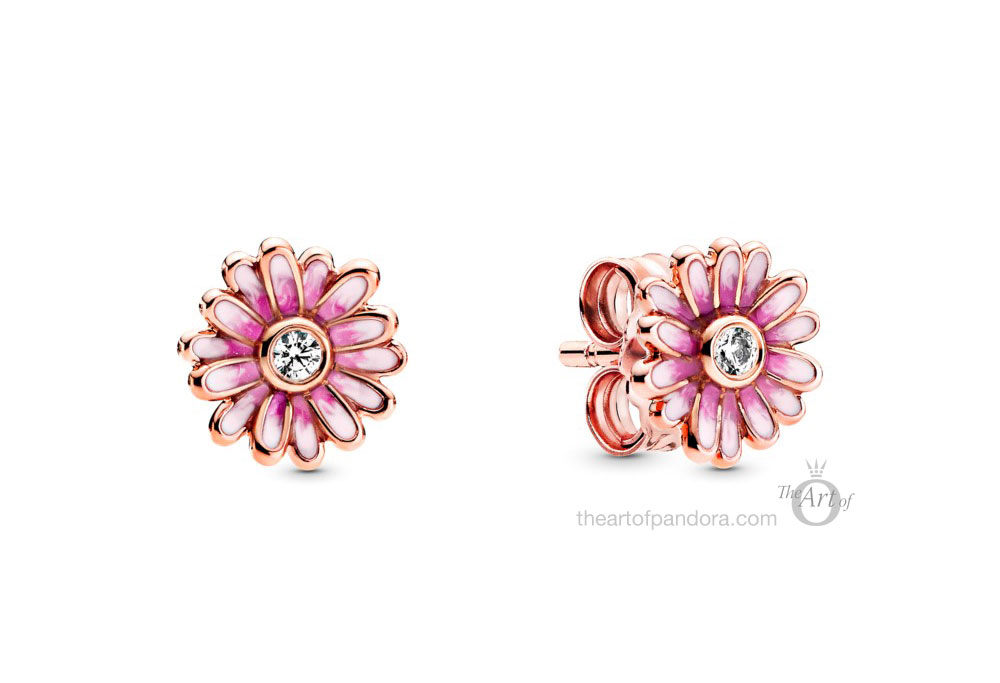 288773C01 Pandora Rose Pink Daisy Flower Stud Earrings