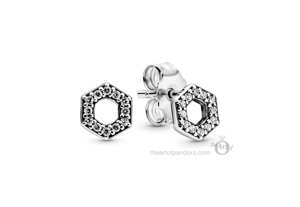 298800C01 Pandora Sparkling Honeycomb Hexagon Stud Earrings