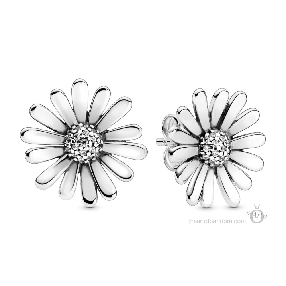 298812C01 Pandora Pave Daisy Flower Statement Stud Earrings