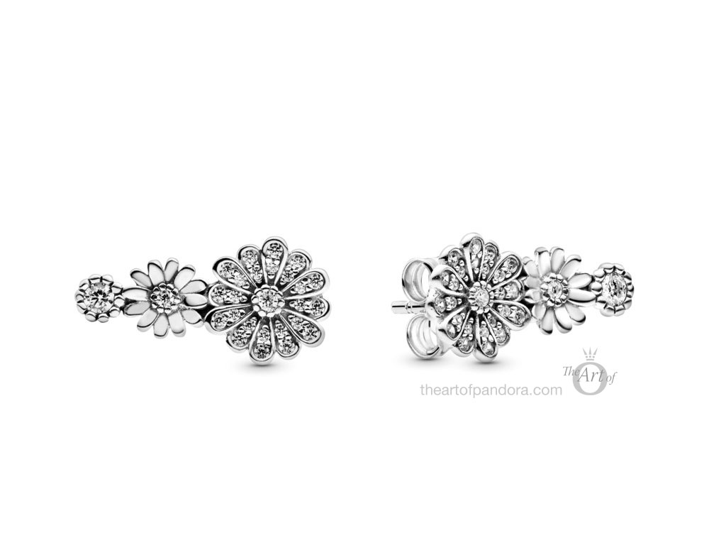 298876C01 Pandora Sparkling Daisy Flower Trio Stud Earrings