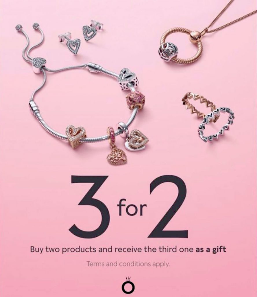 pandora 3 for 2 promo promotion offer free gift