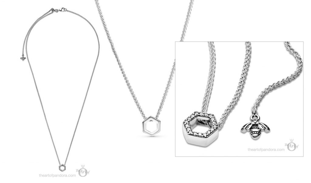 398787C01 Pandora Sparkling Honeycomb Hexagon Collier Necklace