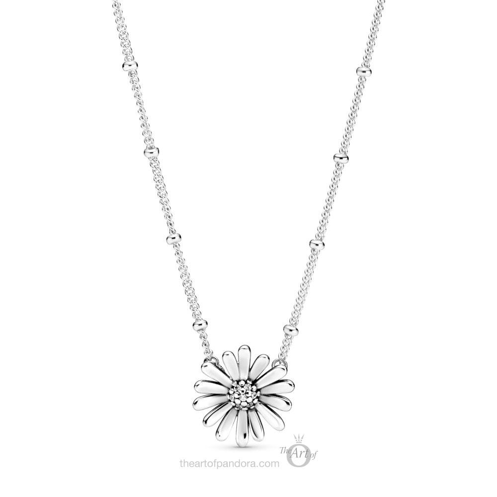 398964C01 Pandora Pave Daisy Flower Collier Necklace