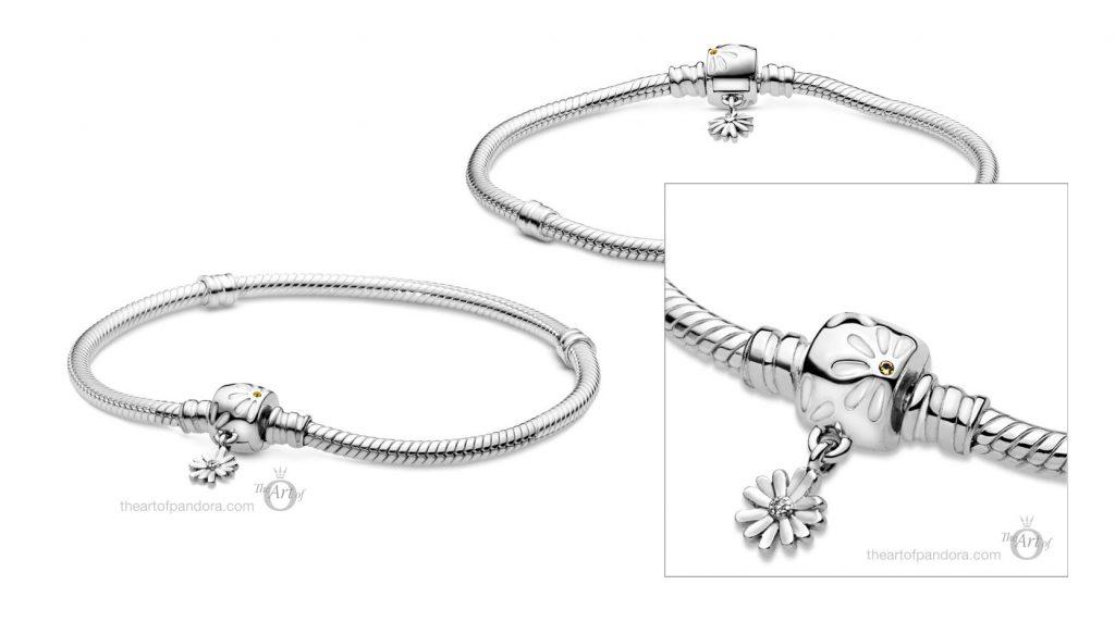 598776C01 Pandora Moments Daisy Flower Clasp Snake Chain Bracelet