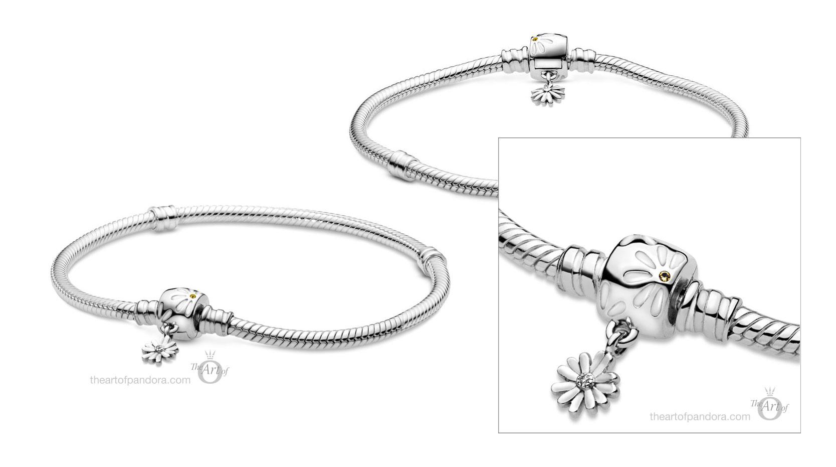 598776c01 Pandora Moments Daisy Flower Clasp Snake Chain Bracelet The Art Of Pandora The 1 Pandora Blog