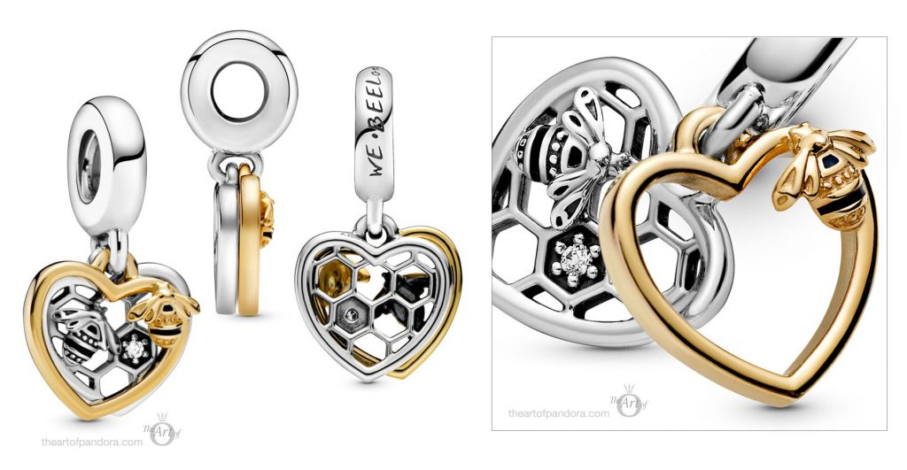 768838C01 Pandora Hearts and Bees Dangle Charm
