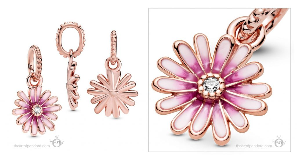 788771C01 Pandora Pink Daisy Flower Dangle Charm