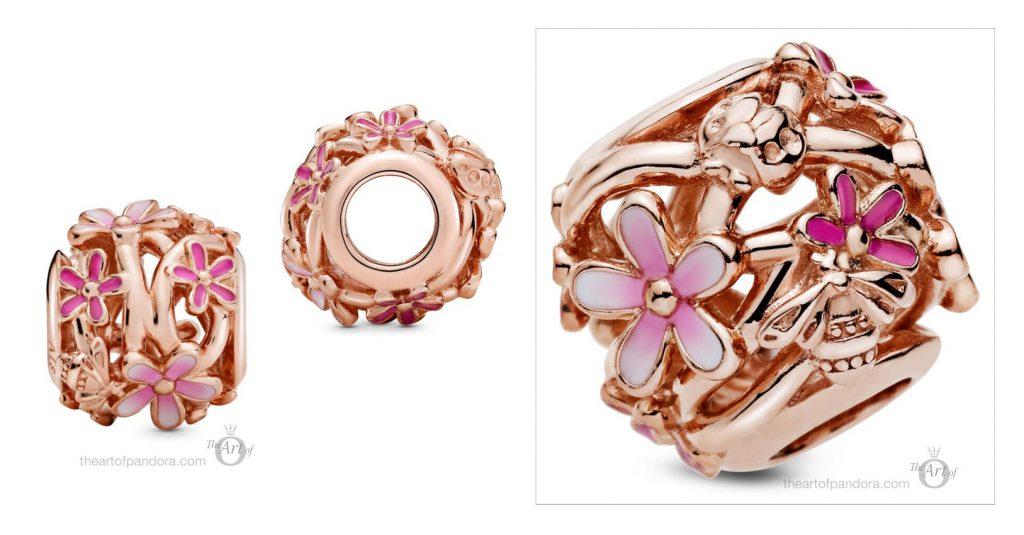 788772C01 Pandora Openwork Pink Daisy Flower Charm