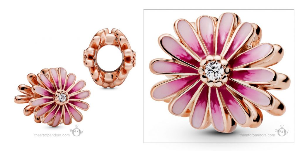 788775C01 Pandora Pink Daisy Flower Charm