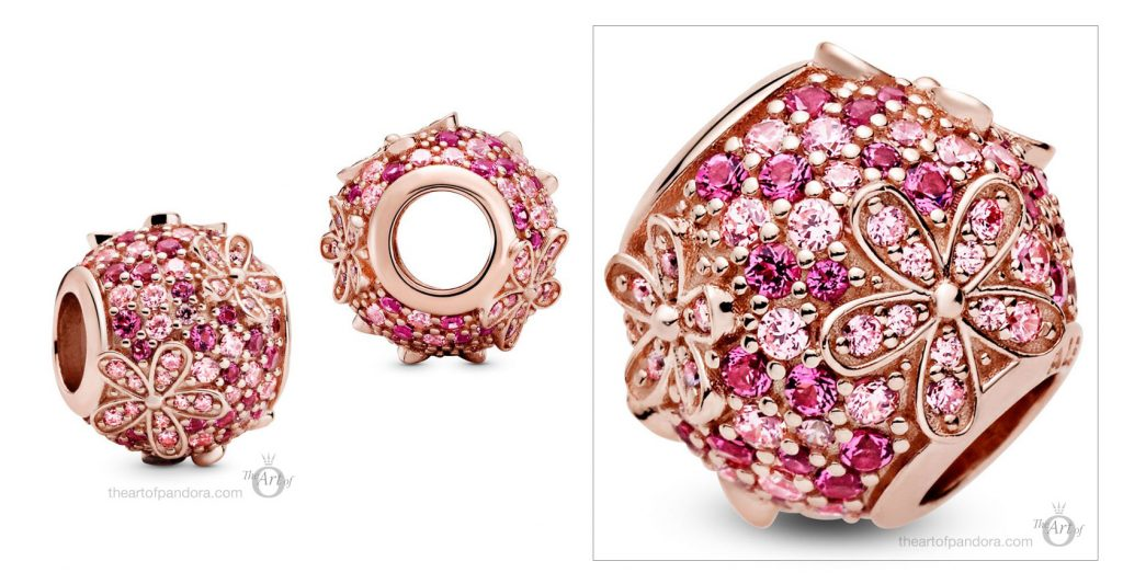 788797C01 Pandora Pink Pave Daisy Flower Charm