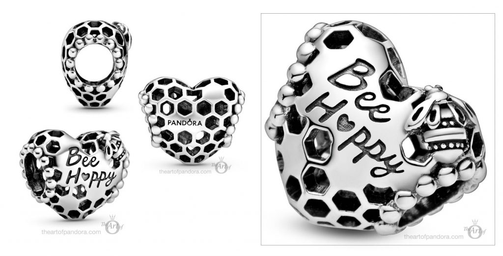 798769C00 Pandora Bee Happy Honeycomb Heart Charm