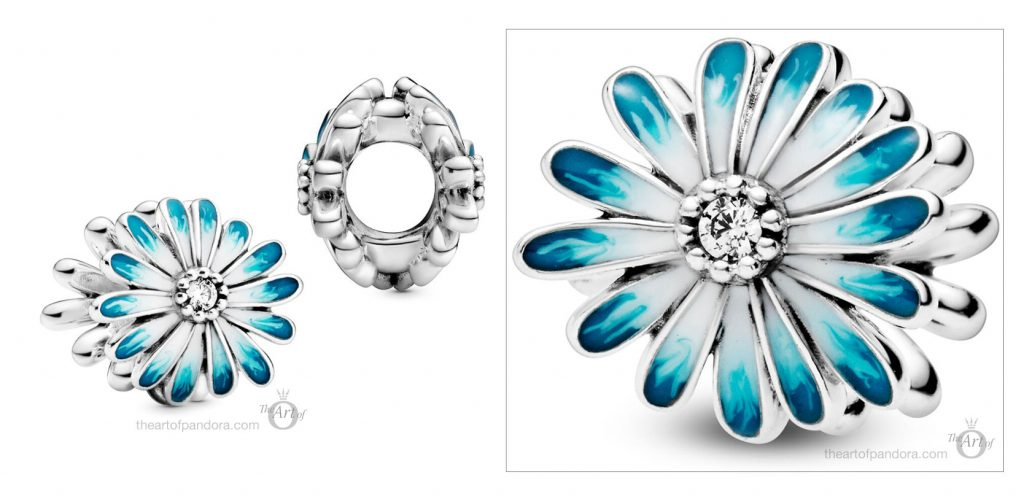 798775C01 Pandora Blue Daisy Flower Charm