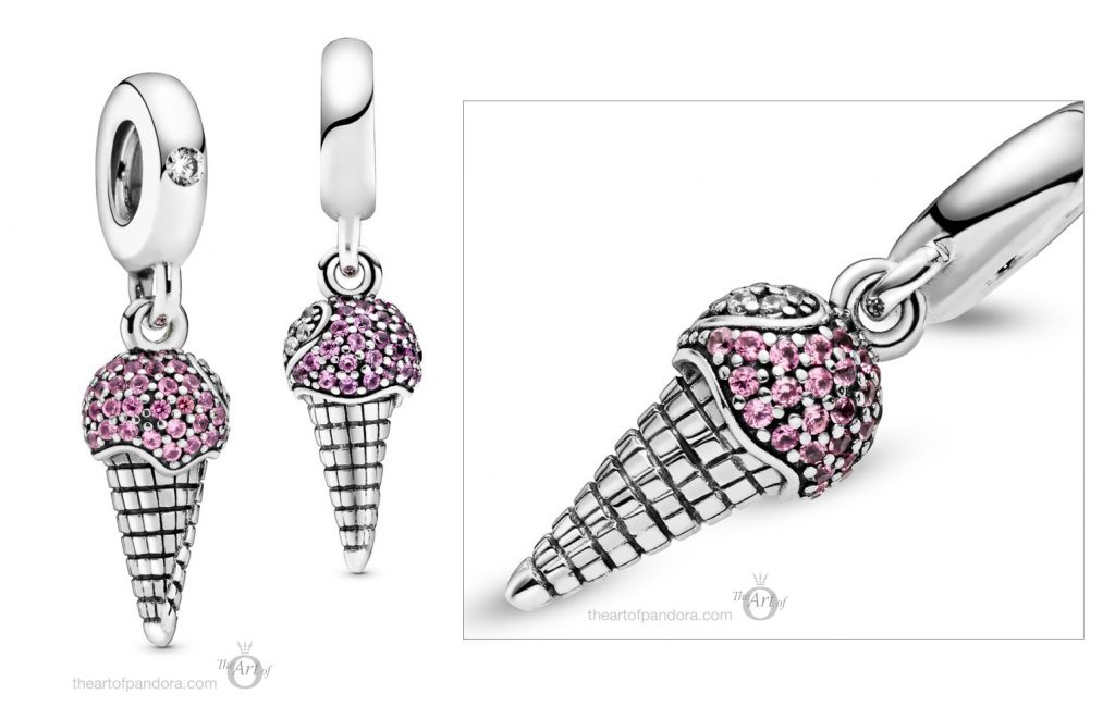 798801C01 Pandora Pavé Ice Cream Cone Dangle Charm