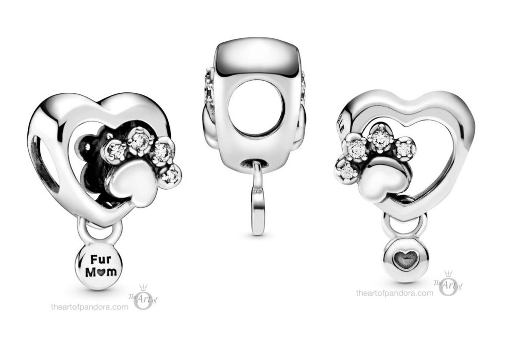 798873C01 Pandora Sparkling Paw Print and Heart Charm