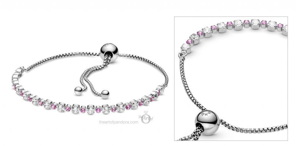 598517C02 Pandora Pink Clear Sparkle Slider Bracelet