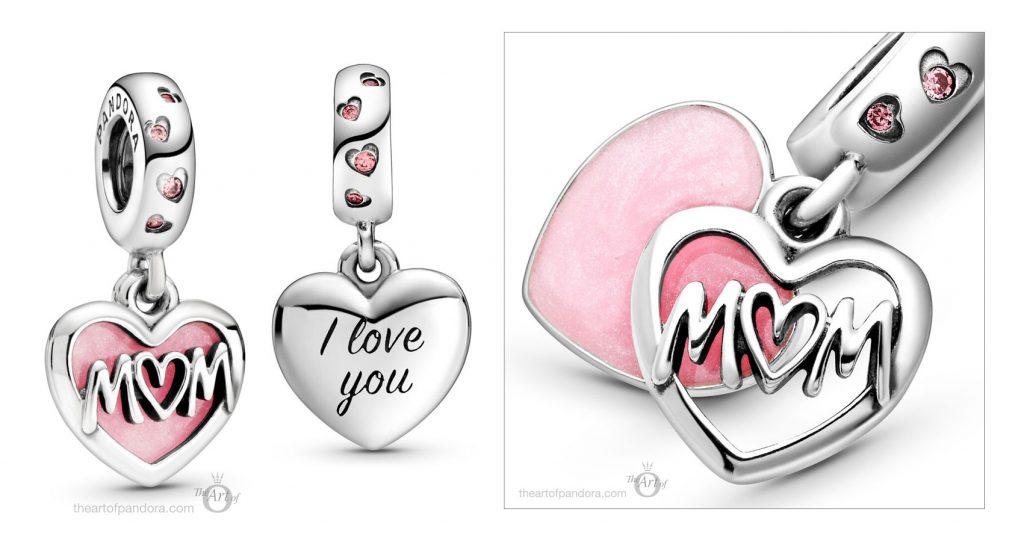 798887C01 Pandora Mum Script Heart Dangle Charm