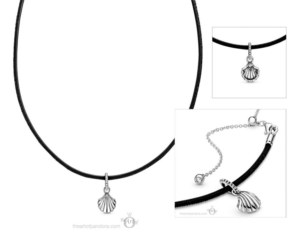 398966C01 Pandora Black Leather Seashell Choker Necklace Summer 2020 collection