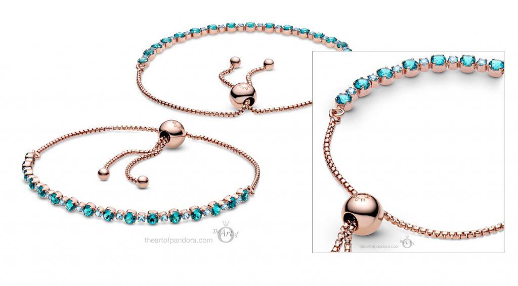 588961C01 Pandora Rose turquoise sparkling slider tennis bracelet summer 2020 collection