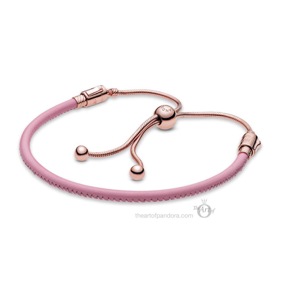 589002C01 Pandora Rose Pandora Moments Pink Leather Slider Bracelet summer 2020 collection