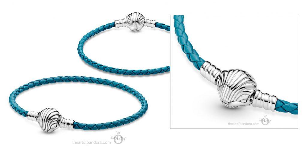 598951C01 Pandora Moments застежка-ракушка бирюзовый плетеный кожаный браслет Лето 2021