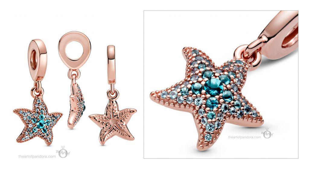 788942C01 Коллекция Pandora Rose Sparkling Starfish Dangle Charm Summer 2020