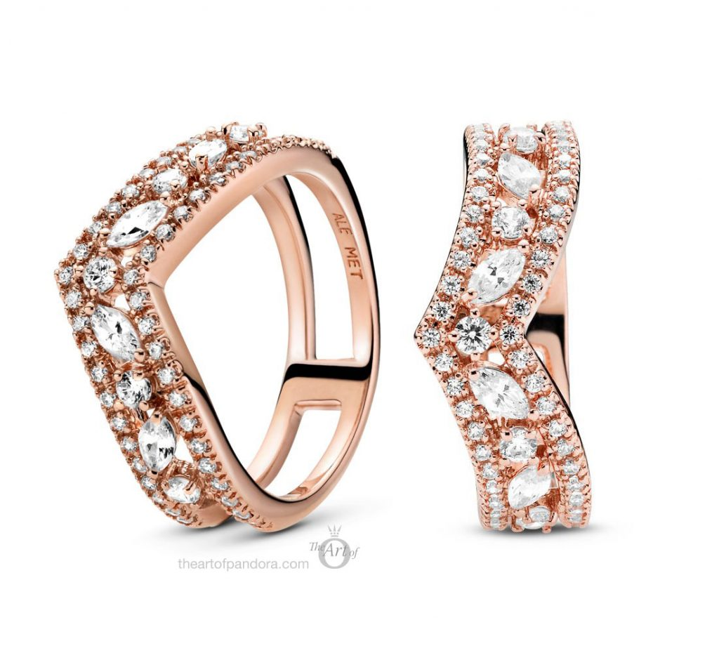 Pandora Rose Sparkling Marquise Double Wishbone Ring  (189095C01) autumn 2020