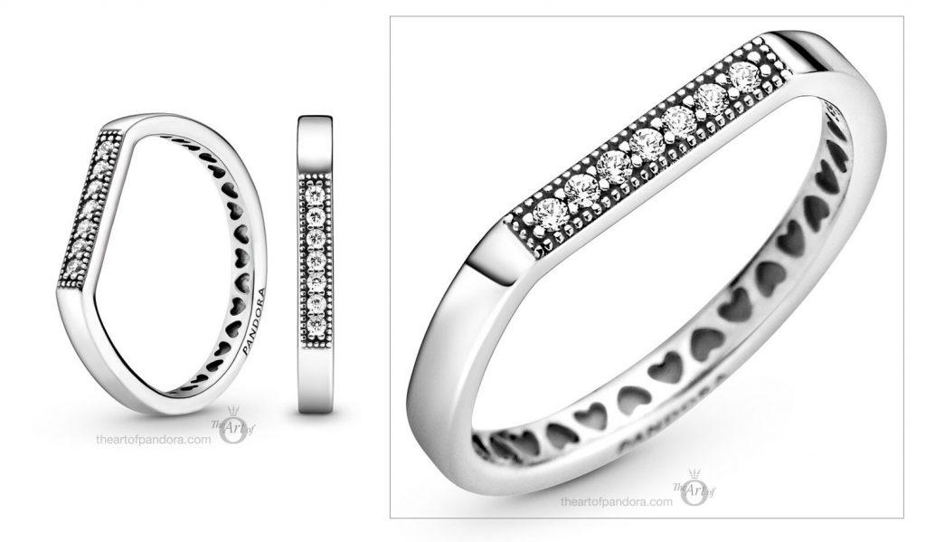 199041C01 Pandora Sparkling Logo Bar Stacking Ring Pre Autumn 2020 new collection