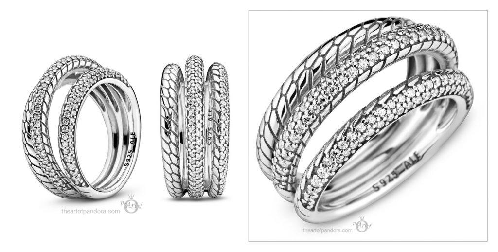 Pandora Triple Band Pave Snake Chain Pattern Ring (199083C01) autumn 2020