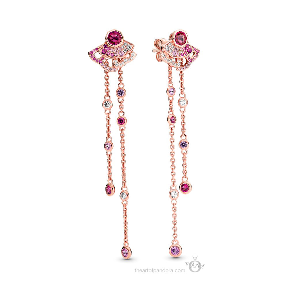 Pandora Rose  Pink Fan Dangle Earrings  (288190C01) Pre Autumn 2020