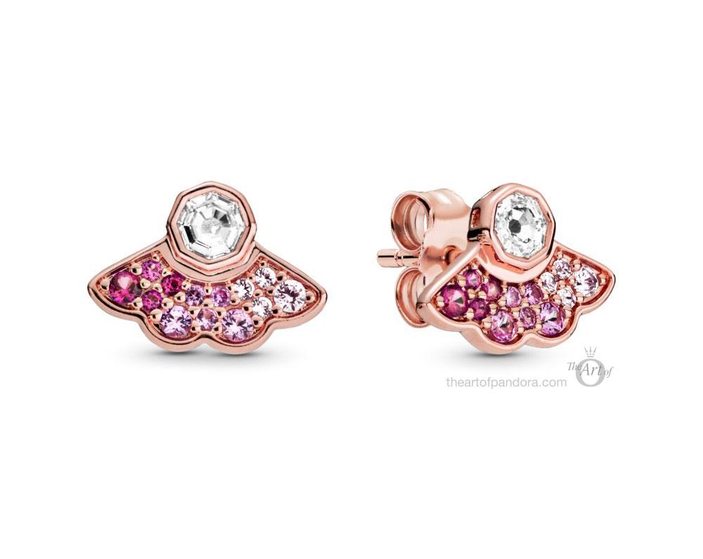 Pandora Rose  Pink Fan Stud Earrings  (288194C01)  Pre Autumn 2020
