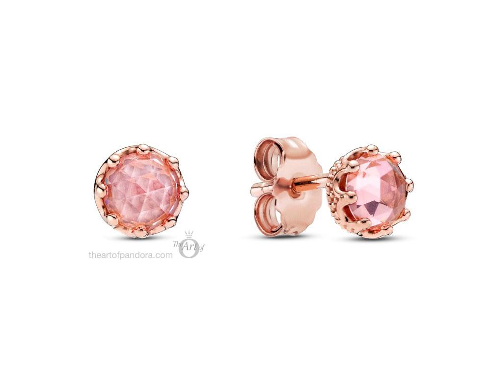 Pandora Rose  Pink Sparkling Crown Stud Earrings  (288311C01) Autumn 2020