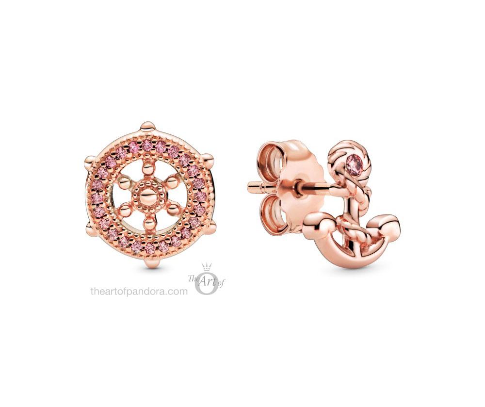 Pandora Rose  Anchor & Wheel Stud Earrings  (289020C01) autumn 2020