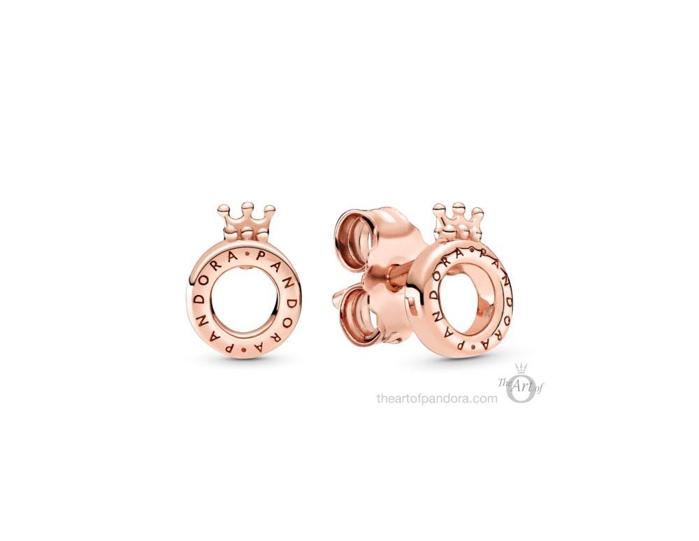 289034C00 Pandora Rose Logo Crown O Earrings